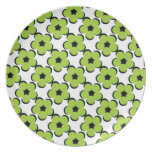 CHIC PLATE_ MOD 90 GREEN BLACK/FLORAL DINNER PLATE