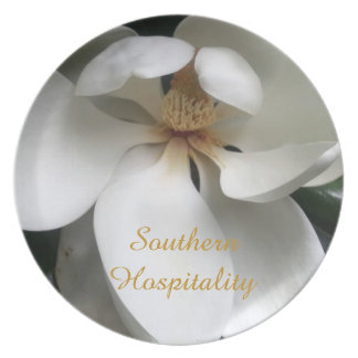 """CHIC PLATE_""""Southern Hospitality """"_WHITE MAGNOLIA Dinner Plate"""