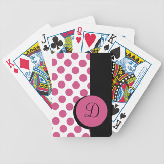 CHIC PLAYING CARDS_ 269 PINK DOTS/BLACK STRIPE BICYCLE PLAYING CARDS