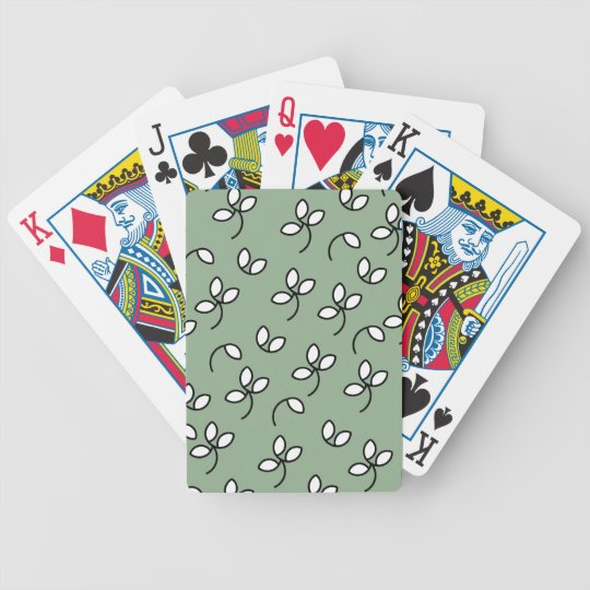 CHIC PLAYING CARDS_ 390 GREEN/WHITE FLORAL BICYCLE PLAYING CARDS