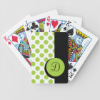 CHIC PLAYING CARDS_ 90 GREEN DOTS/BLACK STRIPE BICYCLE PLAYING CARDS