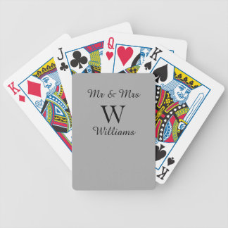 CHIC PLAYING CARDS_Mr & Mrs_BLACK ON GRAY SOLID Bicycle Playing Cards