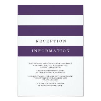 Chic Plum Stripes Wedding Insert Card