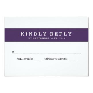 Chic Plum Stripes Wedding RSVP Card