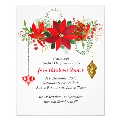 Chic Poinsettia Christmas Red Gold Party Flyer
