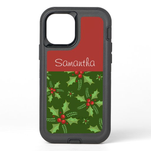 Chic Poinsettia Personalized OtterBox Defender iPhone 12 Case