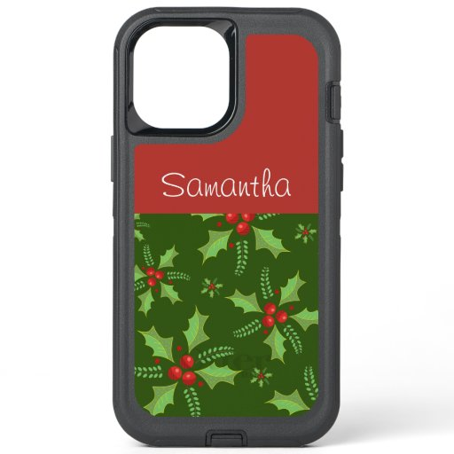 Chic Poinsettia Personalized OtterBox Defender iPhone 12 Pro Max Case