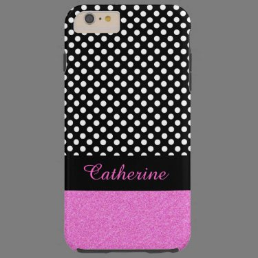 Chic Polka Dot and Glitter Look iPhone 6 Plus case