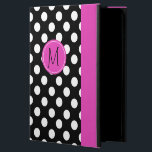 "Chic Polka Dot Monogram iPad Air 2 Case<br><div class=""desc"">Whimsical iPad Air 2 folio style case with built in stand done in a black and white polka dot. A hot pink band, running down the right front edge and a pink disc, on the middle front, has a black one letter monogram ready to personalize. Makes a great personalized gift...</div>"