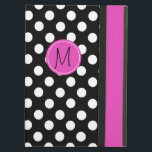 "Chic Polka Dot Monogram iPad Air Case<br><div class=""desc"">Whimsical iPad Air folio style case with built in stand done in a black and white polka dot. A hot pink band, running down the right front edge and a pink disc, on the middle front, has a black one letter monogram ready to personalize. Makes a great personalized gift idea....</div>"
