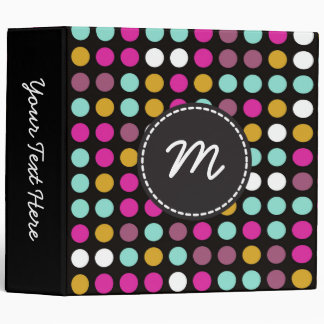 Chic Polka Dot Mosaic Pattern #11 3 Ring Binder