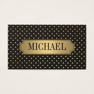 Chic Polka Dot Pattern Luxe Gold Metallic Business Card