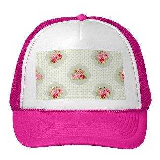 chic polka dot teal red floral white vintage pink trucker hat