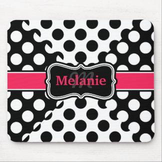 Chic Polka Dots Hot Pink Black White Custom Name Mouse Pad