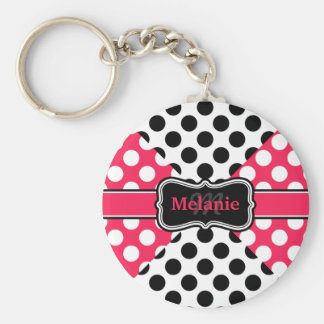 Chic Polka Dots Pink Black White Personalized Name Basic Round Button Keychain