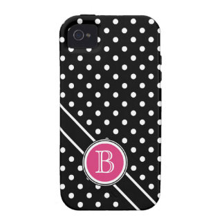 Chic Polkadots with Hot Pink Dot  Monogram iPhone 4/4S Cases