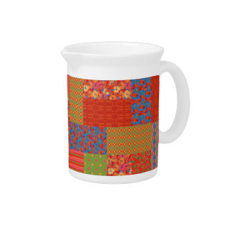 Chic Poppies Faux-patchwork Pitcher or Jug