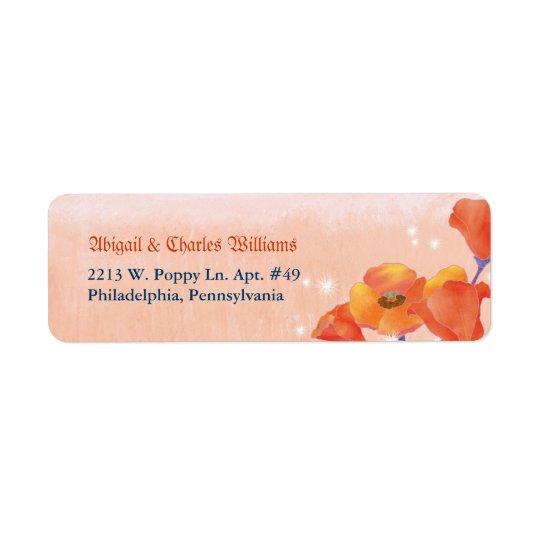 Chic Poppy Meadow Wedding Return Address Label