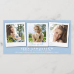 """Chic Powder Blue 3 Photo Graduation Announcement<br><div class=""""desc"""">Clean, modern text and instant-style photographs on a colored background. All text is editable, so it&#39;s easy to use this a combined photo announcement and thank you. Go into """"Customize"""" to change the font style/color or layout. Placing/sizing your photos is also easier in """"Customize"""" view. Available in lots of colors...</div>"""