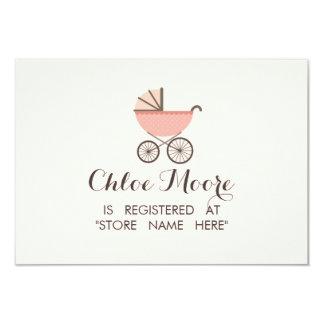 Chic Pram Girl Baby Shower Registry Insert Card