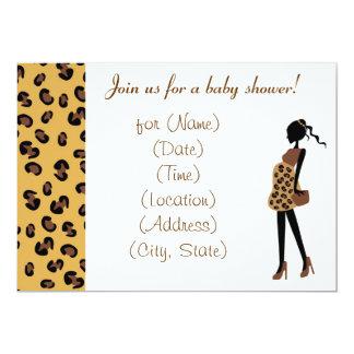 Chic Pregnant Mom Leopard Print Baby Shower Invite