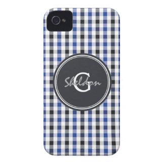 chic preppy blue black gingham pattern monogram iPhone 4 cover