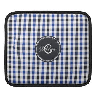 chic preppy blue black gingham pattern monogram iPad sleeves
