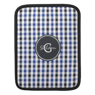 chic preppy blue black gingham pattern monogram sleeves for iPads