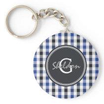 chic preppy blue black gingham pattern monogram keychain