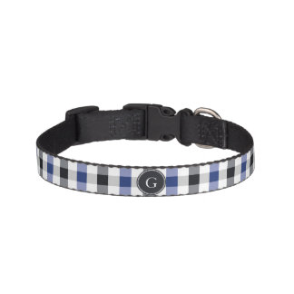 chic preppy blue black gingham pattern monogram pet collar