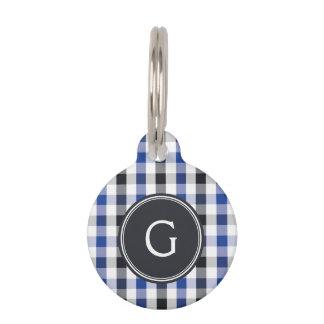 chic preppy blue black gingham pattern monogram pet ID tag