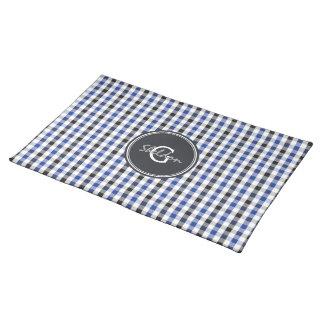 chic preppy blue black gingham pattern monogram cloth place mat
