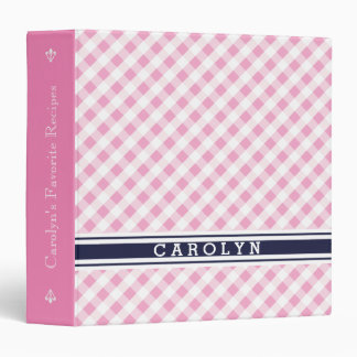 chic preppy pink navy gingham pattern monogram binder