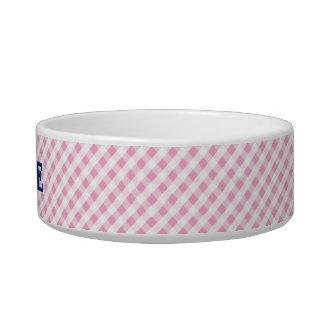chic preppy pink navy gingham pattern monogram bowl