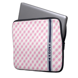 chic preppy pink navy gingham pattern monogram laptop computer sleeve