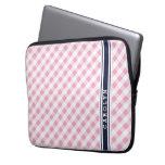 chic preppy pink navy gingham pattern monogram laptop sleeves