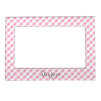 chic preppy pink navy gingham pattern monogram magnetic frame