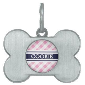 chic preppy pink navy gingham pattern monogram pet name tag