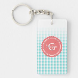 chic preppy turquoise gingham pattern monogram keychain