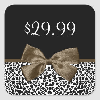 Chic Price Tags Brown Ribbon Trendy Leopard Print