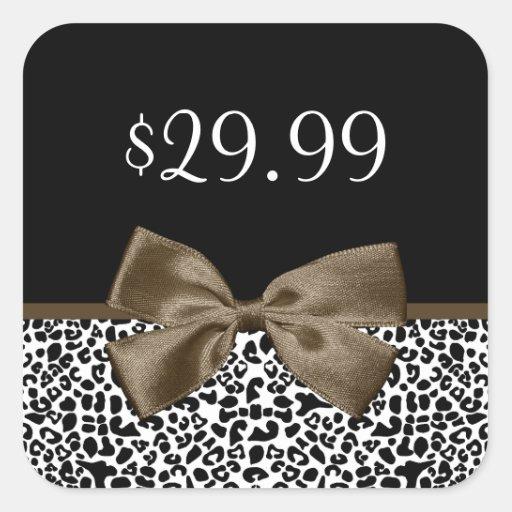 Chic Price Tags Brown Ribbon Trendy Leopard Print Sticker