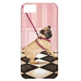 Chic Pug puppy on leash Case For iPhone 5C