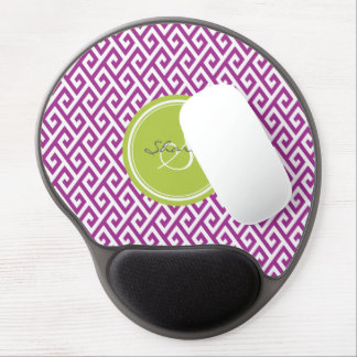 Chic purple abstract geometric pattern monogram gel mouse pad