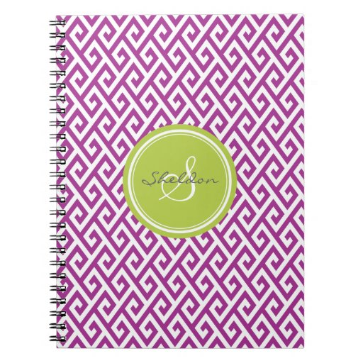 Chic purple abstract geometric pattern monogram spiral note books