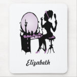 Chic Purple and Black Woman Fashionista Silhouette Mouse Pad