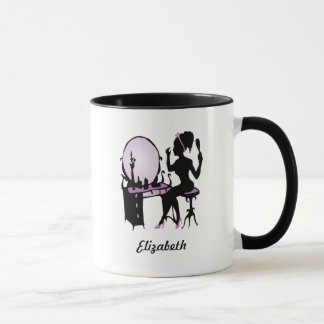 Chic Purple and Black Woman Fashionista Silhouette Mug