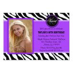 Chic Purple and Black Zebra Print Photo Invite