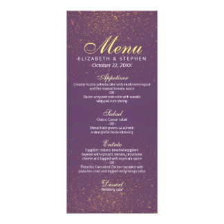 Chic Purple and Gold Glitter Sparkle Wedding Menu