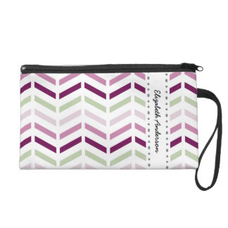 Chic Purple and White Chevron Zigzags With Name Wristlet