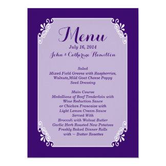 Chic Purple and White Custom Wedding Menu Card